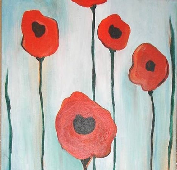 Abstract Poppies (open to see full image) by Kristen Dougherty-Free Shipping