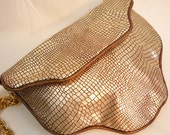 NEW PRICE REDUCTION - Geo in Genuine Metallic Gold Croc-Embossed Leather with Silk Lining and Gold Hardware