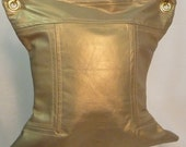 PRICE REDUCTION - Cinch in Pearlized Gold Leather with Gold Chain Hardware and Silk Toile Lining