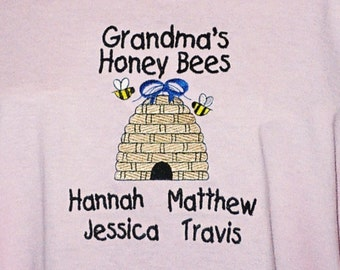 Plus Size  Grandma's Honey Bees T-Shirt Personalized Embroidered on Pink