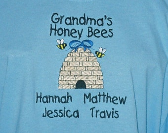 Grandma T-Shirt Personalized and Embroidered with Grandma's Honey Bees Design