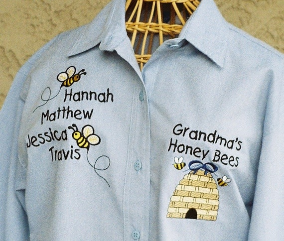 Grandma Long Sleeve Shirt Personalized Honey Bees