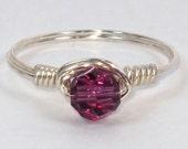 Sterling Silver Ring with Amethyst Swarovski Crystal