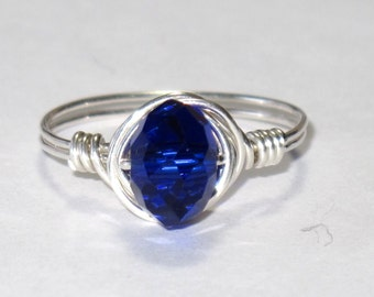 Sterling silver and Cobalt blue crystal wire wrapped ring