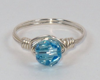 Sterling Silver and Aquamarine Swarovski Ring