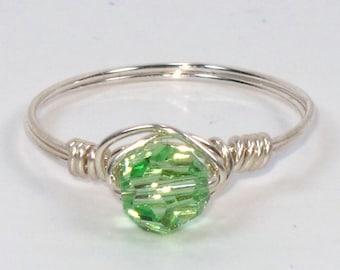 Sterling Silver and Peridot Swarovski Crystal Ring