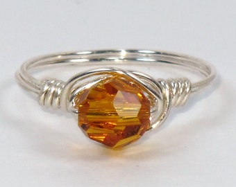 Sterling Silver and Golden Topaz Swarovski Crystal Ring