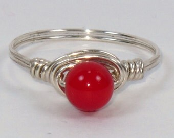 Sterling Silver and 6mm Red Coral Ring