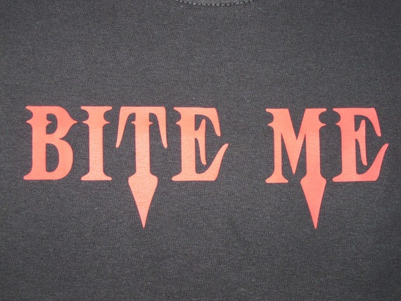 Bite Me in red on black t-shirt
