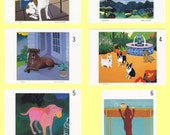 6 Dog Art Cards BLOWOUT- Support  Cancer Charity