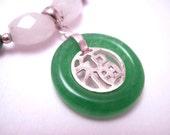 Good Luck Jade Necklace - sterling silver, ching hai jade, snow quartz, jadeite