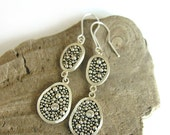 PEBBLES - silver and white spinel earings