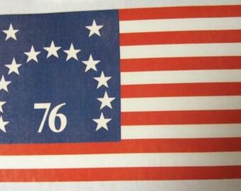 Vintage 1970's   Bicentennial  USA  1776  FLAG  Iron  On  Transfer