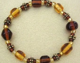 Amber And Brown Stretch Bracelet Czech Glass