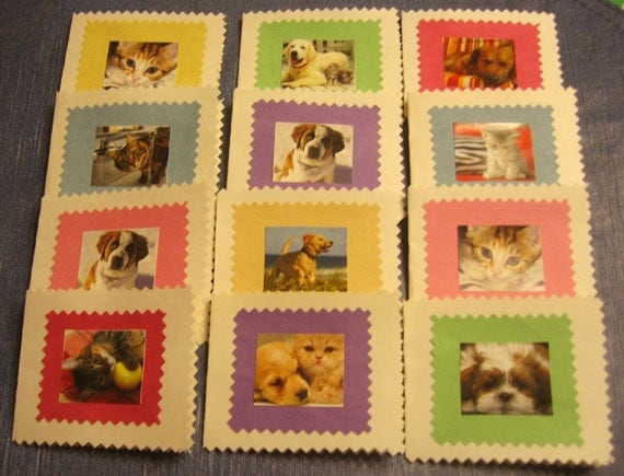 HANDMADE  Cat and Dog GIFT CARD  Note Tags Note Cards