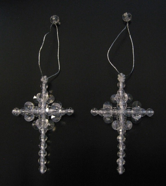 Lovely pair of Beaded Cross Ornaments Crucifix Cross Religious Spirituality  Religion