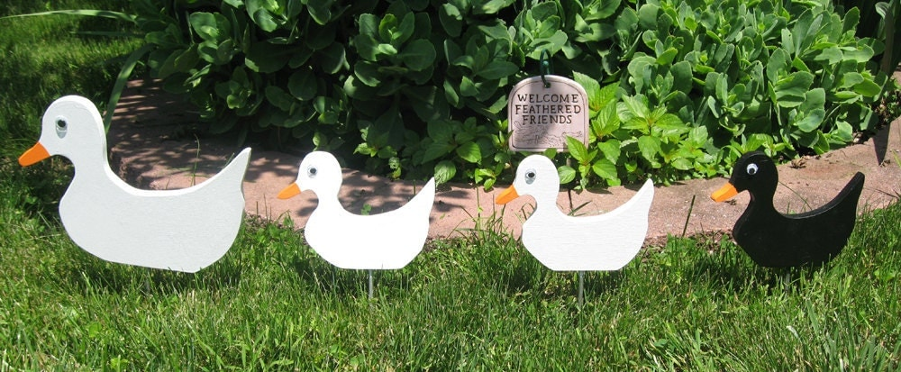 Wood ducks set of four lawn ornaments outdoor decoration yard - Wooden garden ornaments ...