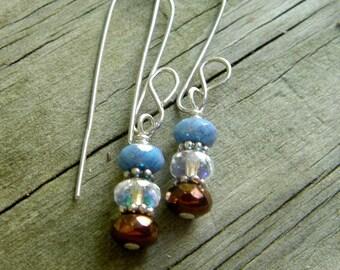 SHIMMER Czech glass & sterling silver rondelle earrings