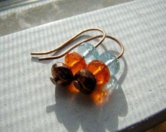 SHIMMER copper faceted glass earrings