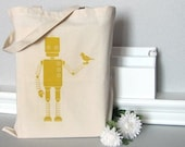 TOTEBAG Screenprinted Canvas Cotton Market Purse Book Bag Robot Bird Nature Autumn Fall Mustard Yellow (TB08)