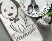 TEA TOWEL Screenprinted Natural Cotton Flour Sack Lucky Puppy Dog Tan Taupe Beige (TT13)