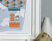 Little Girl Hot Air Balloon Nursery Art - Robot Letterpress Art Print - Polka Dot, Bird, Orange, Navy Blue, Light Blue (PPR2)