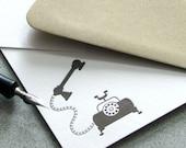Vintage Telephone Letterpress Note Card Set - Call Me, Rustic, Autumn, Fall, Dark Coffee Brown - 10 pack (NVP01)