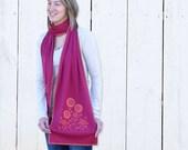 Honeysuckle pink cotton scarf, Jersey knit, Retro Flower Garden Screenprint - Orange, Bright Pink, Hot Pink (SC06)