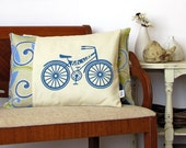 Bicycle Pillow Cover: Lets Ride - Retro Bicycle Screen Print with Decorative Stitching - Blue, Gren Pattern Fabric  (PCBY1)