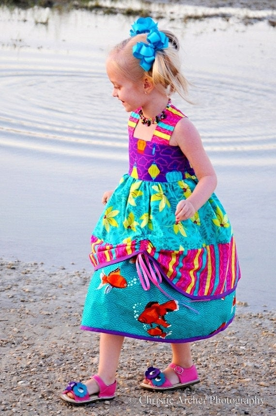 Girls Boutique Dress - Playdate at the Koi Pond - sizes 6 months, 12 months, 18 months, 2t, 3t, 4t, 5t, 6t, 7/8...by SunLoveShirts