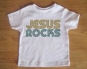 Jesus Rocks, Children's, Kids, Clothes Tshirt, Baby, Shirt, Saying, Christian, Jesus, Clothing, Quote, God, Girl, Boy, Present, Gift