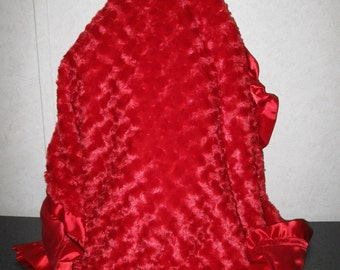 Red silky Satin and Red Soft Silky Swirl Minky, Red Satin Ruffle Stroller Personalized Blanket 30 x 30