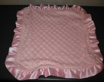Baby Security Blanket Lovie lovey Pink Satin Ruffle Minky 15 x 15