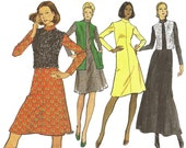Vintage Vogue 8421 A-Line Dress & Sleeveless Jacket (Misses' 12  - Bust 34)  Very Easy 1970s Sewing Pattern