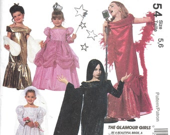 McCalls 6154 Dress Up Glamour Girl Costumes Sewing Pattern Bride Fairy Princess Evening Dresses Vampire  (Child 5-6) Vintage UNCUT - OOP