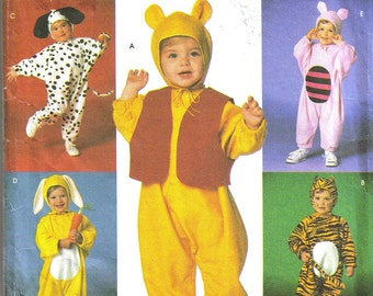 Simplicity 7374 Winnie the Pooh Piglet Tigger Rabbit & Dog Sewing Pattern Toddler Costume (Sz 1/2- 4) Uncut - NO INSTRUCTIONS