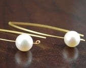Aura of the Pearl - Modern linear earrings with  White Freshwater Pearls