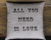 a secret message pillow... all you need is love/love is all you need