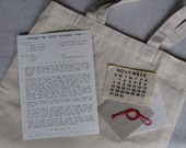 a vintage tea towel calendar tote kit... choose your date and diy...