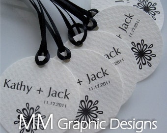 Custom Tags - Personalized 1.75inch Thank you Circle Tags - Set of 100 - Wedding Favor Tags - Baby Shower - Birthday - Bridal Shower