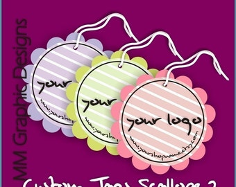 100 Custom Tags - 2inch circle with scalloped edges - Custom Design Tags - Personalized Tags - Wedding Tags - Favor Tags