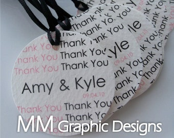 Personalized 1.5inch Thank you Circle Tags - Set of 300 - Weddings - Baby Shower - Birthday - Bridal Shower