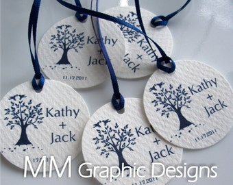 Personalized 1.5inch Thank you Circle Tags - Set of 100 - Weddings - Baby Shower - Birthday - Bridal Shower