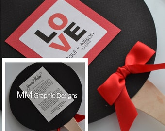 Monogram Custom Wedding Fan Program - Set of 50 - Ceremony Fan Program - Birthday Fan Program - Bar and Bat Mitzvah Fan Programs