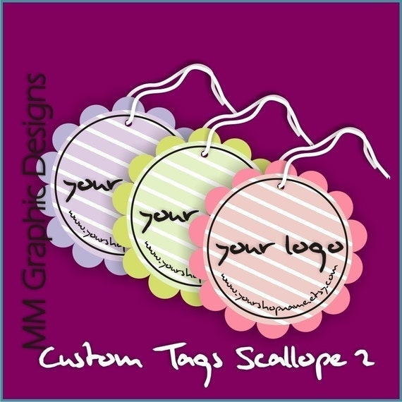 100 Custom Tags - 2inch circle with scalloped edges