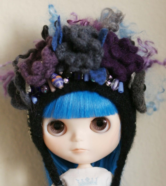 SALE Darkness Falls - OOAK Floral Collage Helmet for Blythe - Crochet Felted Pixie Hat