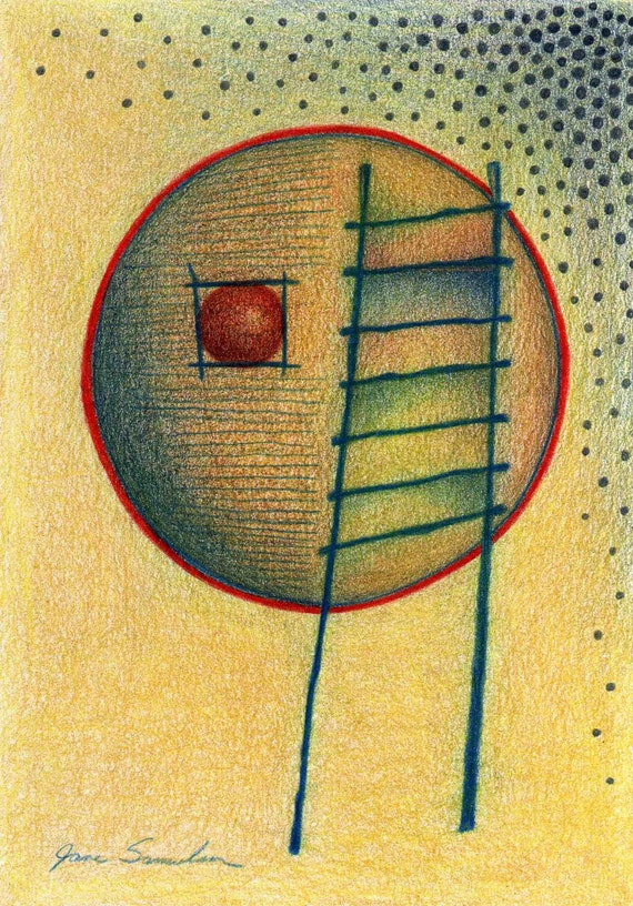 Ladder and Orb - Original Abstract Drawing
