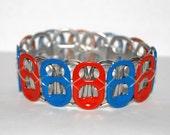 Orange and Blue Soda Tab Bracelet