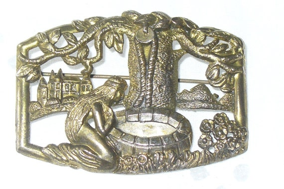 Very Detailed Uncas Brass Brooch, Mermaid at Well