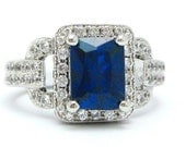 4.65tw EMERALD cut medium blue SAPPHIRE & Diamonds engagement ring SA1800